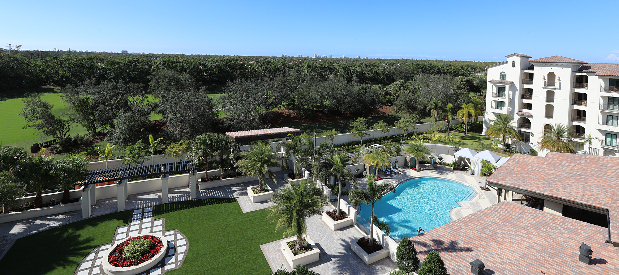 scenic view of Moorings Park's campus in Naples, Florida